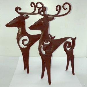 Two Vintage Metal Standing Reindeer